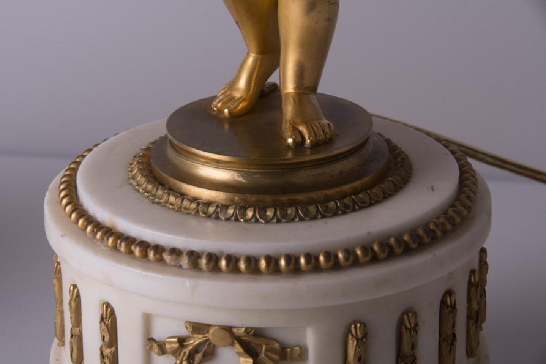 Pair Ormolu Gilt-Bronze And Marble Figural Candelabras - 8