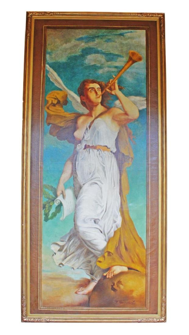 "Monumental109"" X 46"" Painting Of Angel On Canvas Signed"