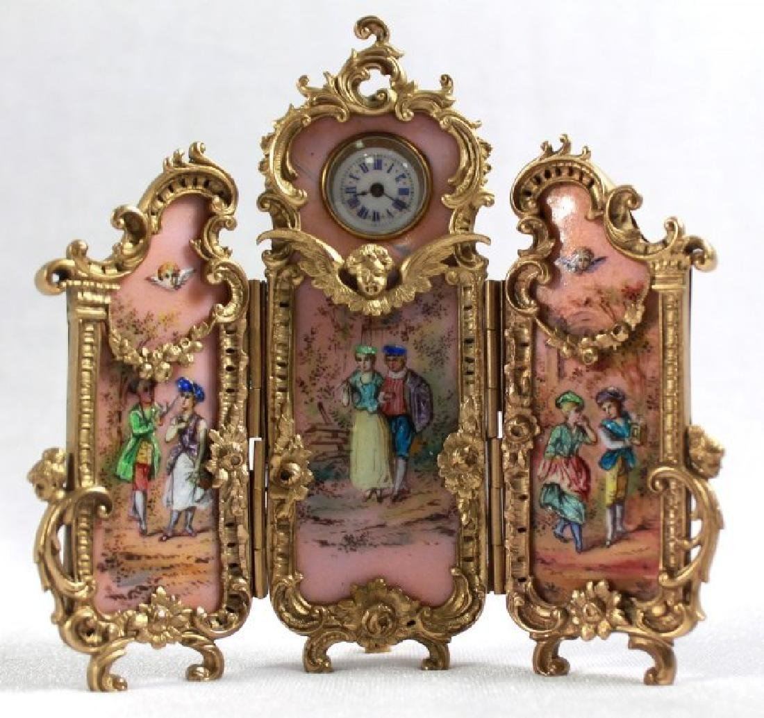 Viennese Enamel 3 Panel Screen Clock, Pink Ground