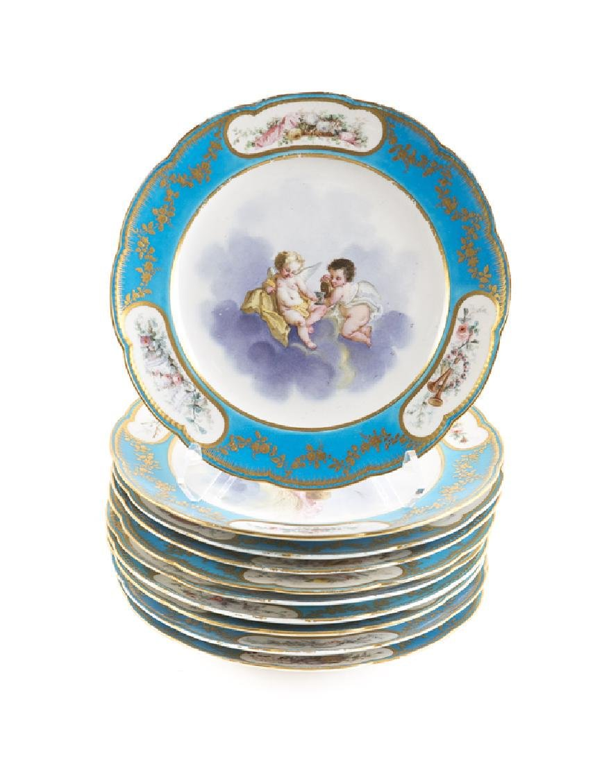 Set Of 10 19Th C. Sevres Bleu Celeste Cabinet Plates