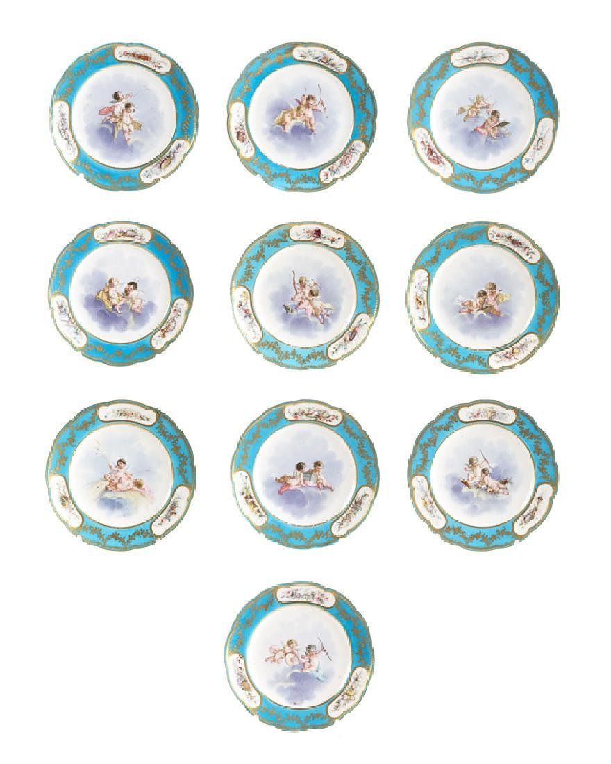 Set Of 10 19Th C. Sevres Bleu Celeste Cabinet Plates - 2
