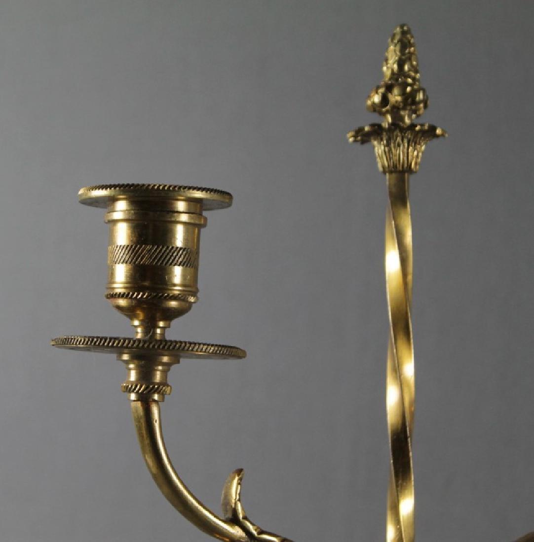 Pair Of Empire Style Dore Bronze And Marble 2 Light - 4