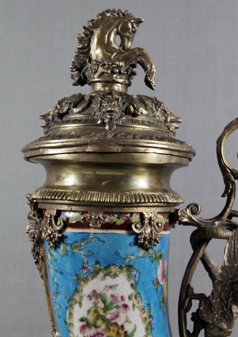 A Continental Porcelain Cornucopia Urn Bronze Mounted - 2