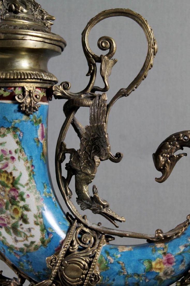 A Continental Porcelain Cornucopia Urn Bronze Mounted - 3