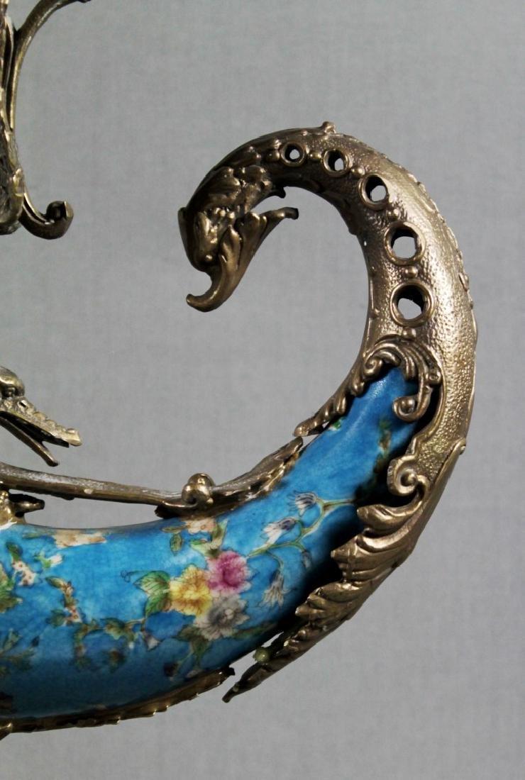 A Continental Porcelain Cornucopia Urn Bronze Mounted - 4