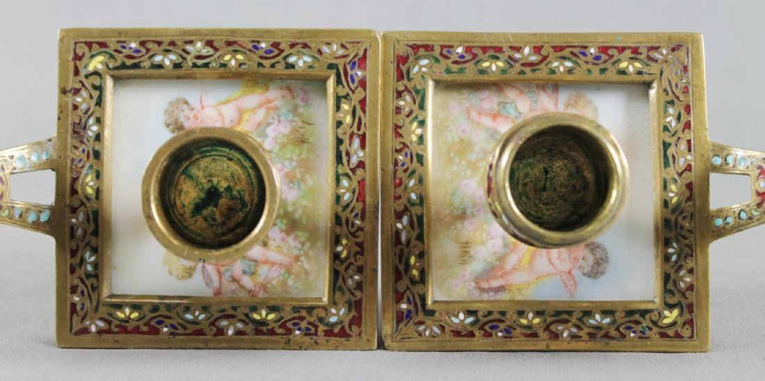 Pair Of French Champleve And Enamel Candleholders - 4