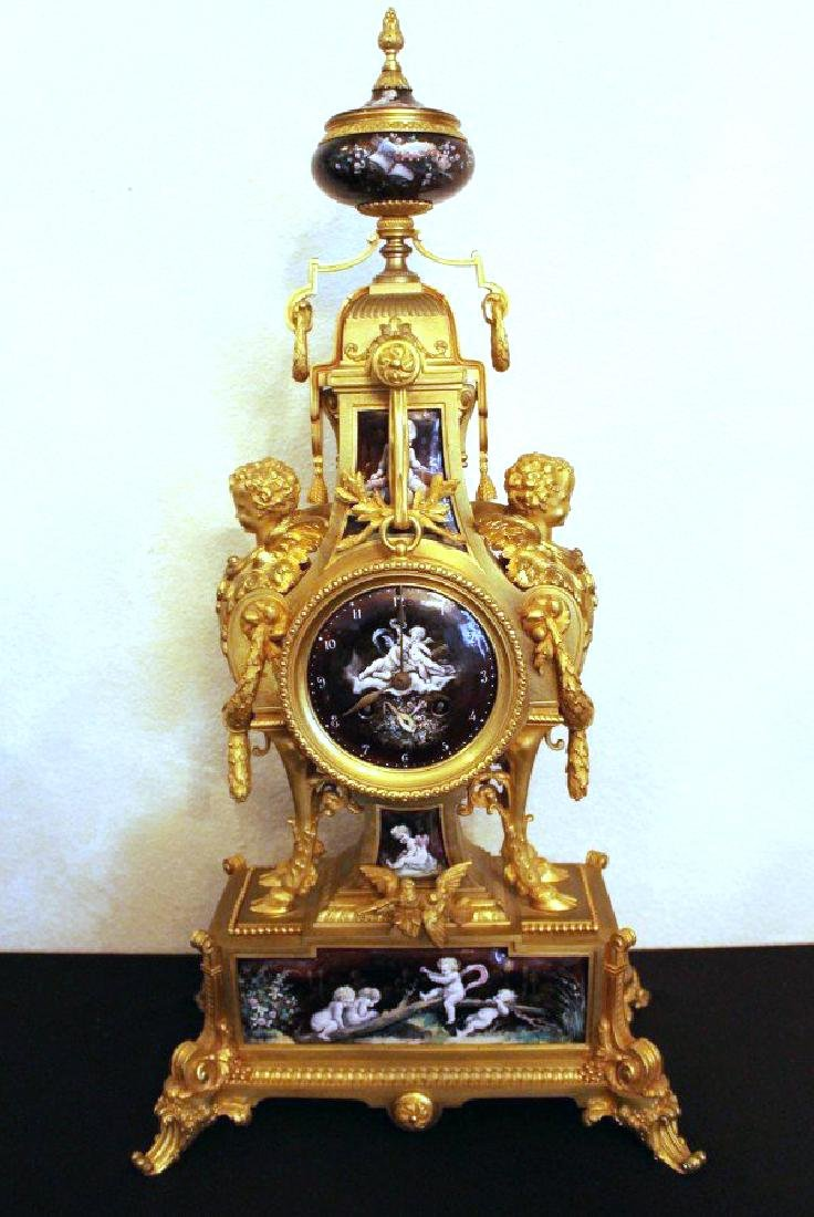 Monumental 19Th Century Limoges Enamel Clock Set - 2