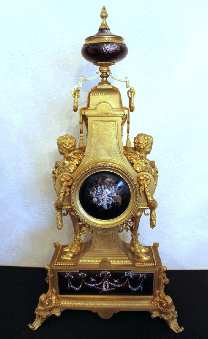 Monumental 19Th Century Limoges Enamel Clock Set - 6