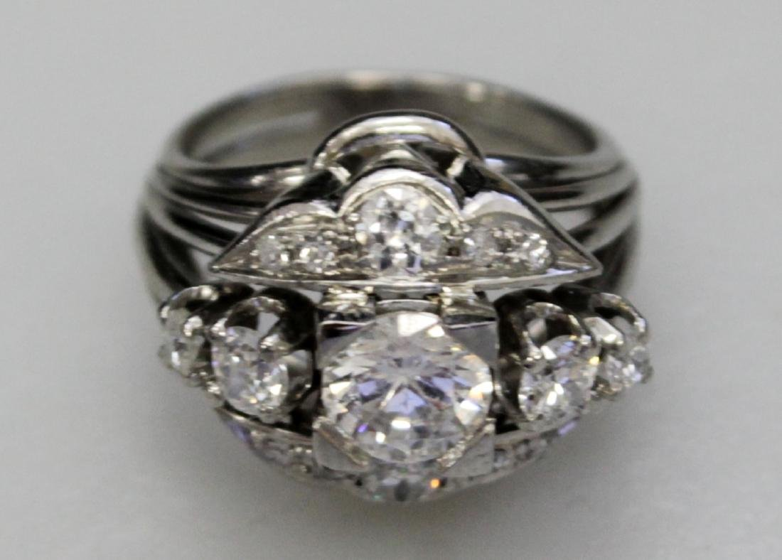 Platinum Band And Faux Diamond Ring - 2