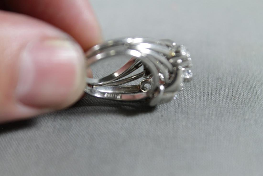 Platinum Band And Faux Diamond Ring - 3