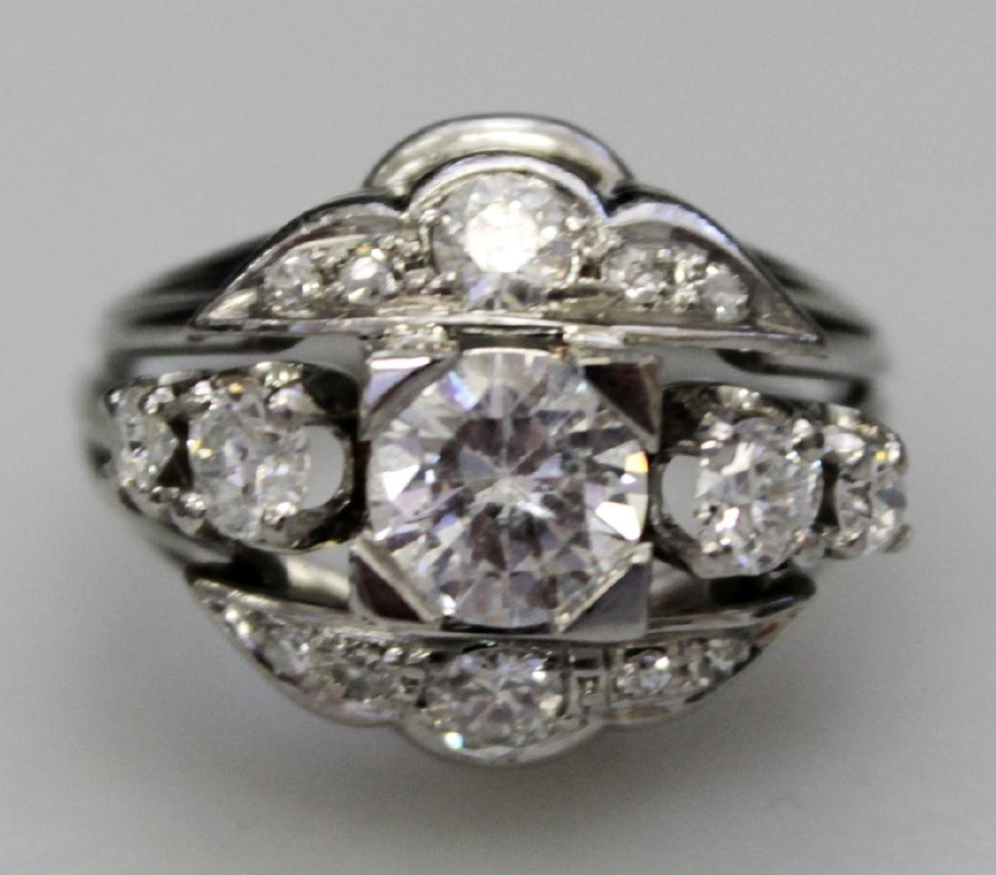 Platinum Band And Faux Diamond Ring - 4