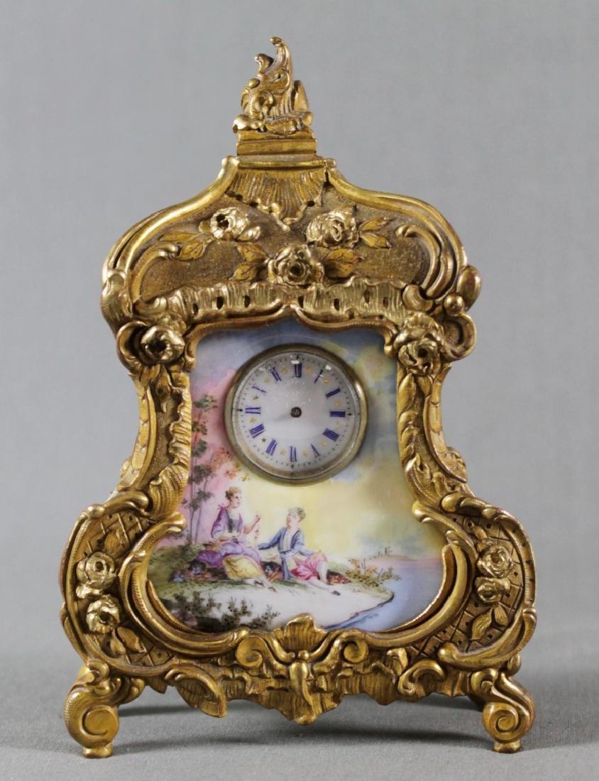 Late 19Th C. Bronze And Enamel Desk Clock