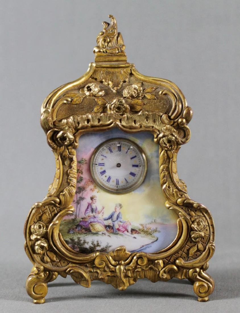 Late 19Th C. Bronze And Enamel Desk Clock