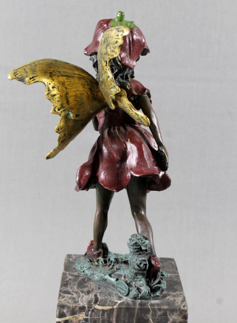 Polychrome Bronze Figure Of Girl On Marble Base - 4