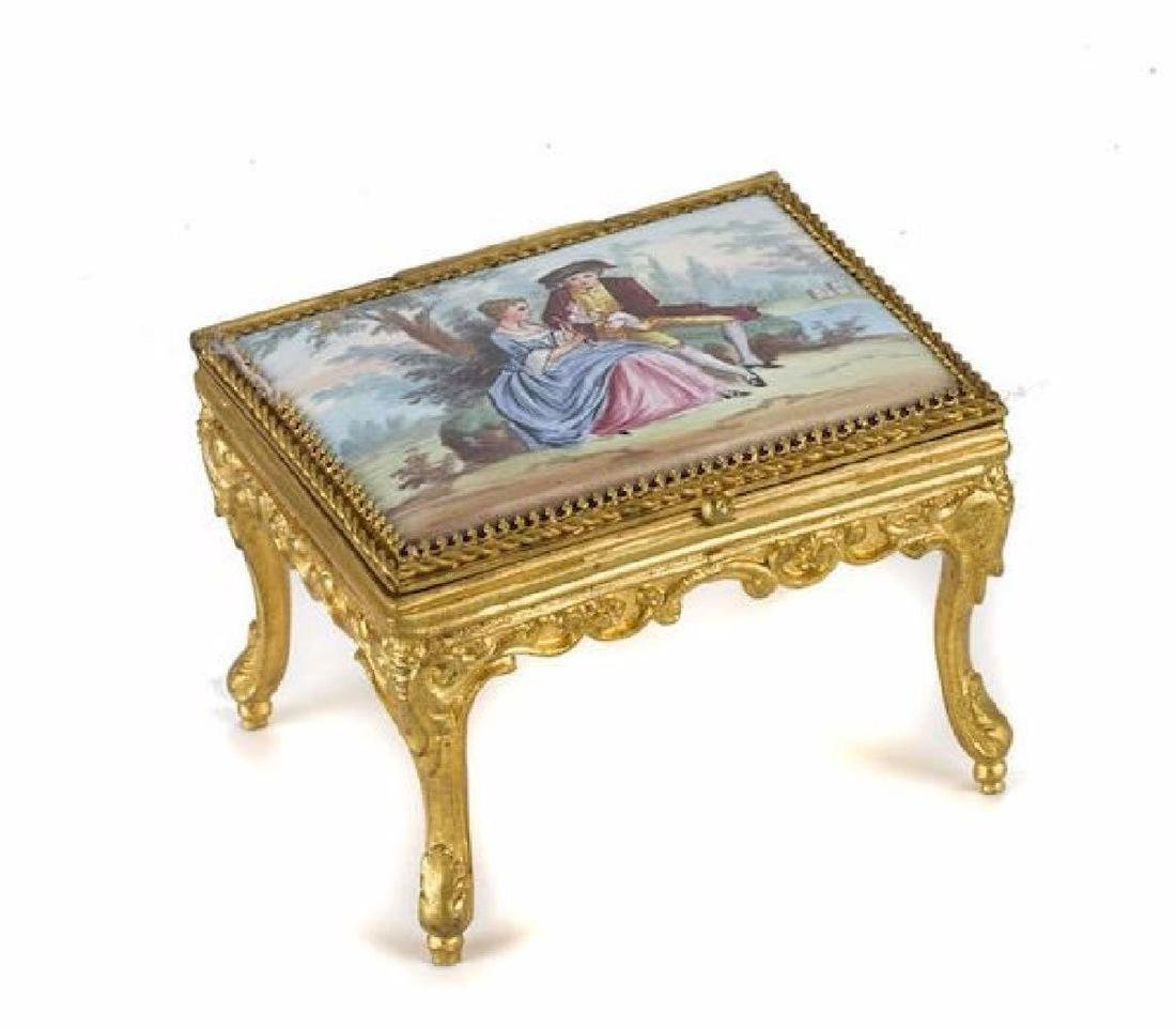 A Continental Gilt Metal And Enamel Suite Of Miniature - 2