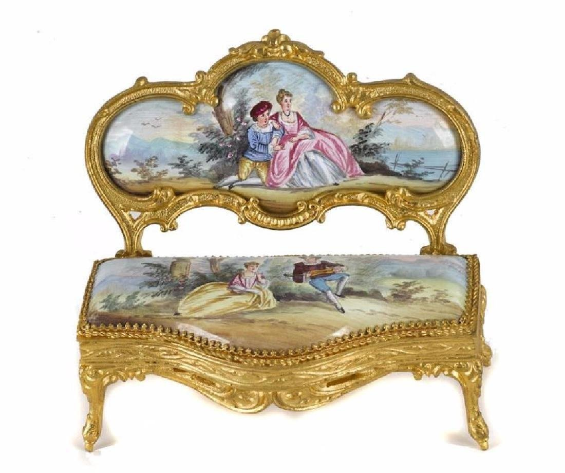 A Continental Gilt Metal And Enamel Suite Of Miniature - 3