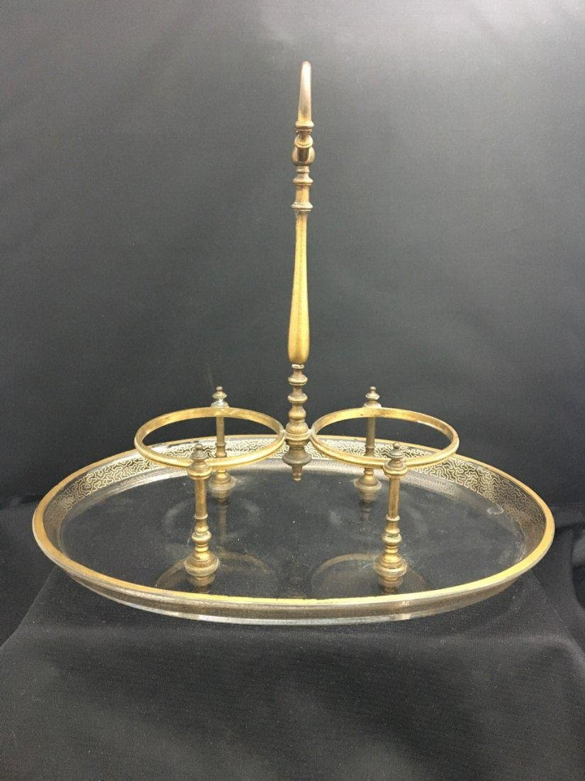 Baccarat Set of Two Bottles and Plate with Bronze Mount - 2