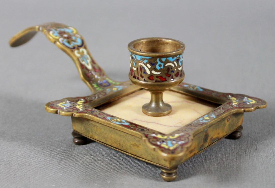 Pair Of French Champleve Enamel And Marble - 2