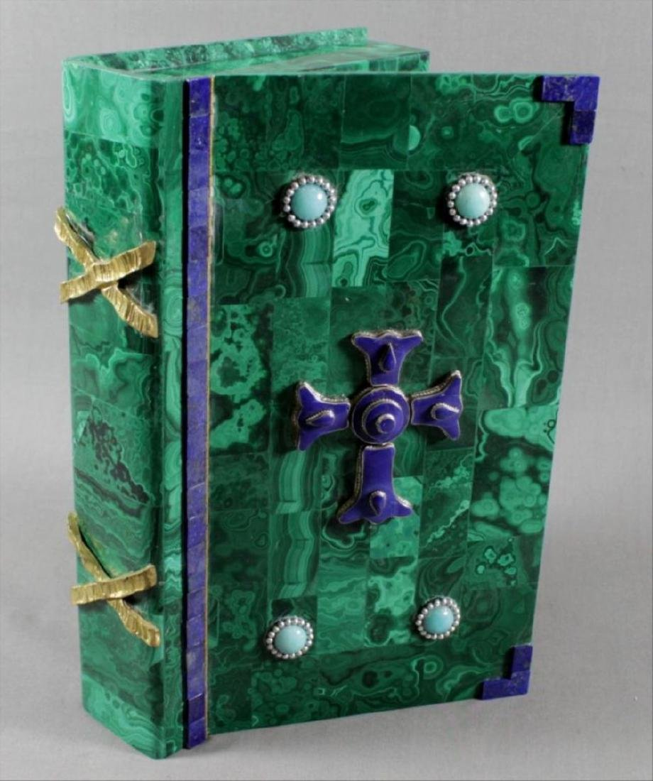Magnificent Russian Malachite And Jewelled Book Shaped
