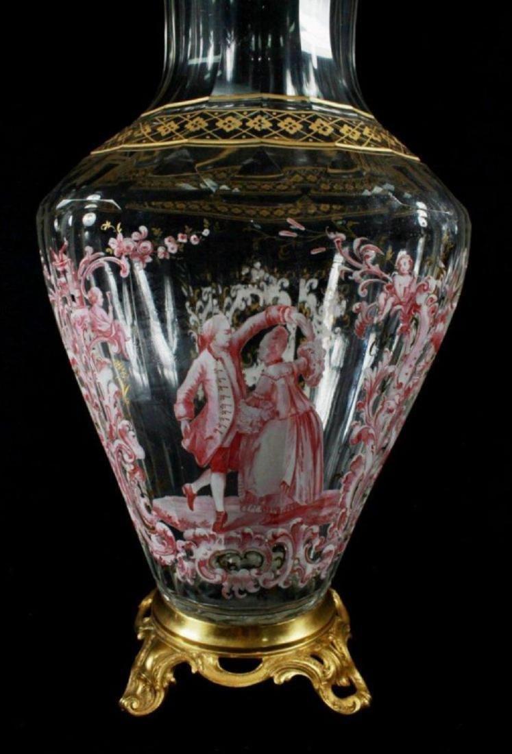 Magnificent Lobmeyr Vase In Bronze Base - 3