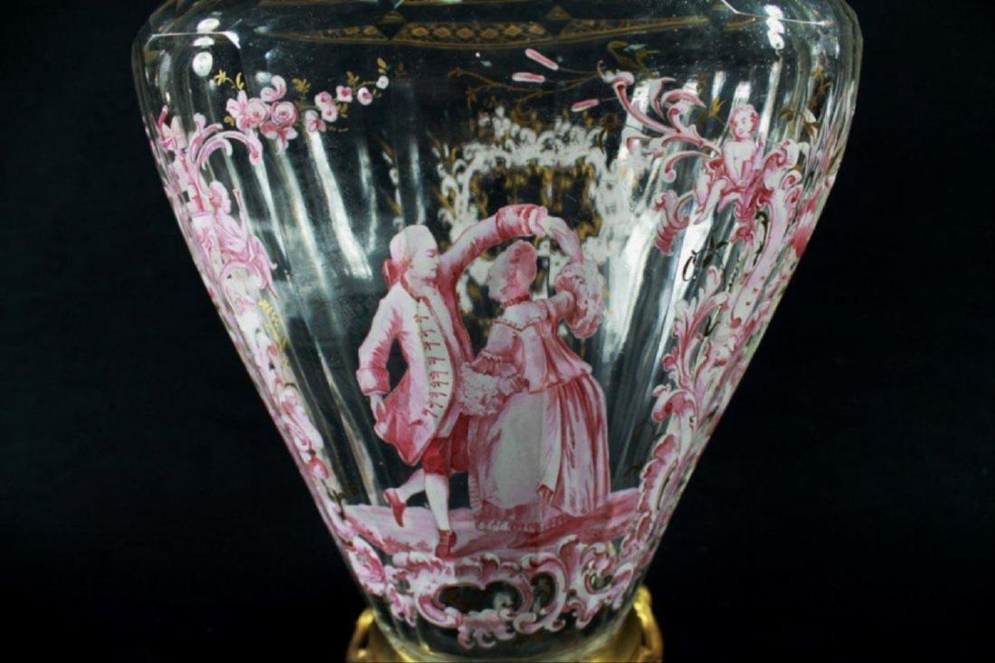 Magnificent Lobmeyr Vase In Bronze Base - 4