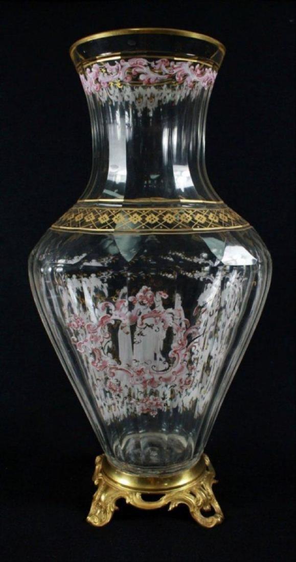 Magnificent Lobmeyr Vase In Bronze Base - 6
