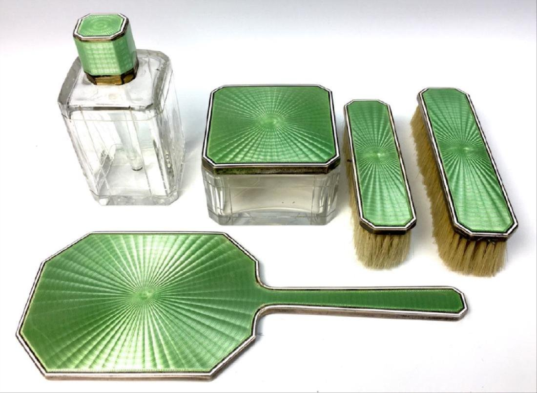 Tiffany And Co. Sterling And Enamel Ladies Vanity Set