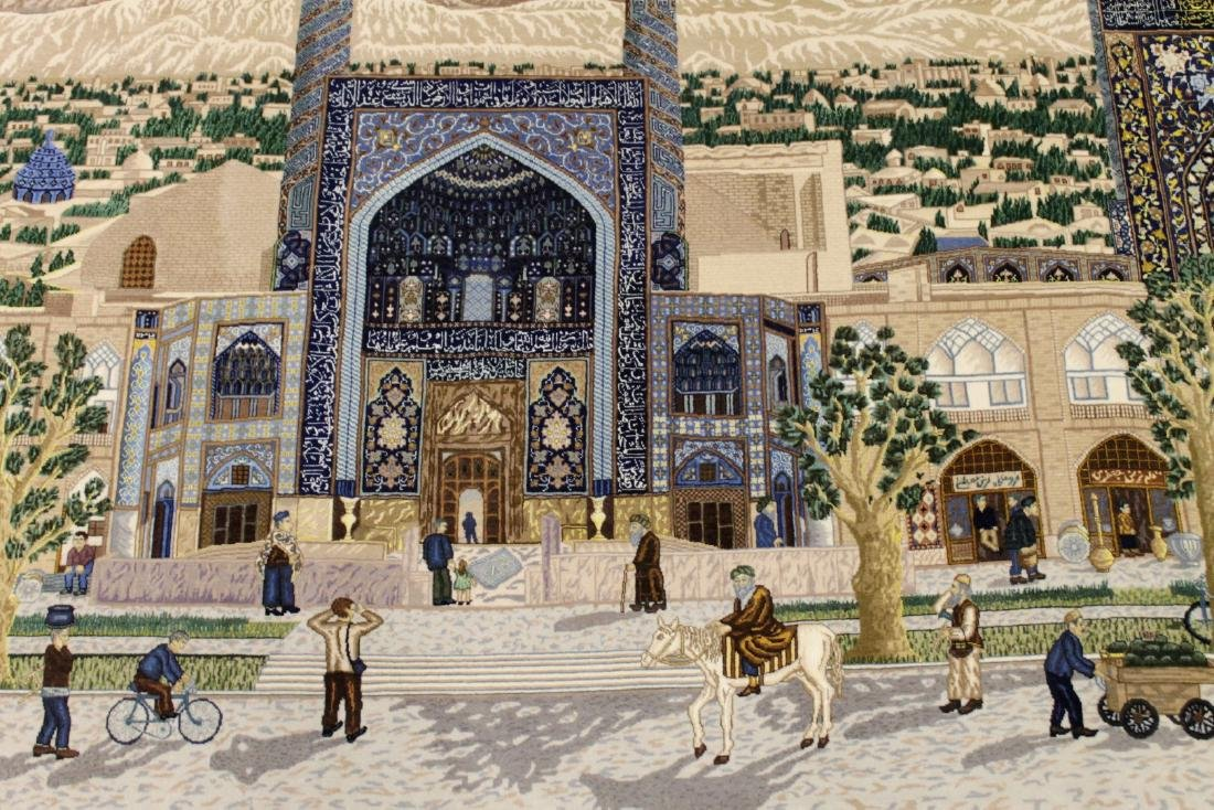 Magnificent Isfahan Scene Silk And Wool Rug W/ Gold Thr - 4