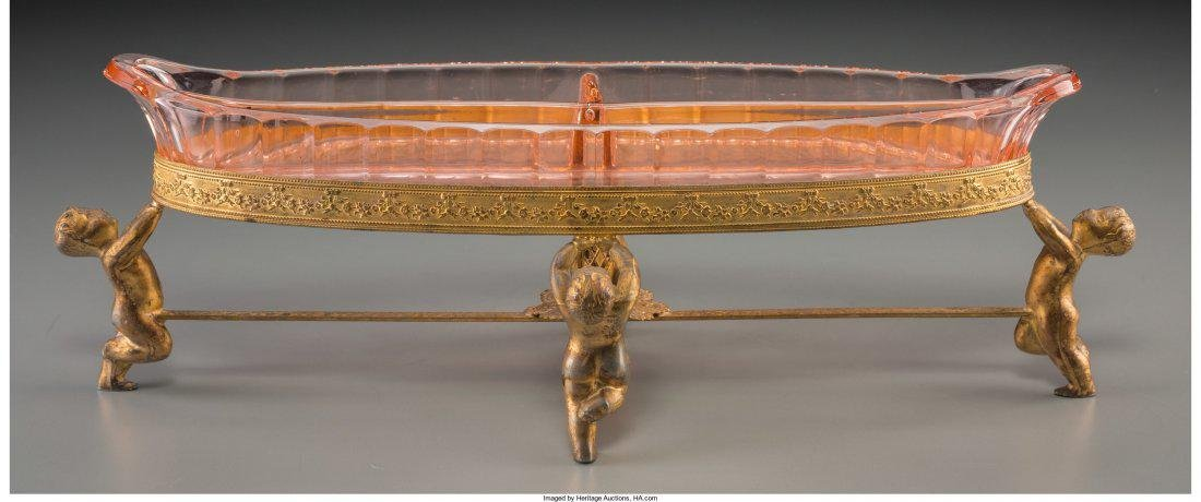 A Continental Etched Glass And Gilt Metal Serving Dish,