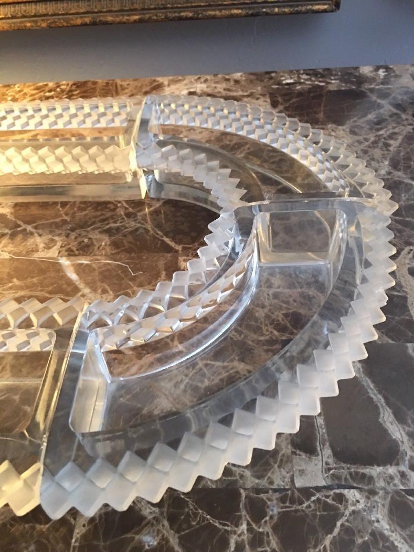 6 Pc. Lalique Molded Glass Oval Centerpiece Chemin De - 4