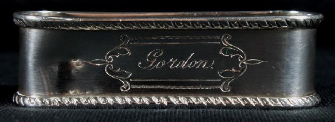 """Antique Sterling Silver Napkin Holder Monogrammed"""" - 2"""
