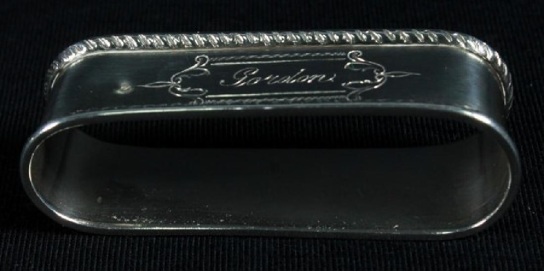 """Antique Sterling Silver Napkin Holder Monogrammed"""" - 6"""