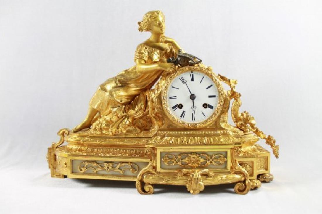 Dore Bronze 8 Day Figurative Clock - 2