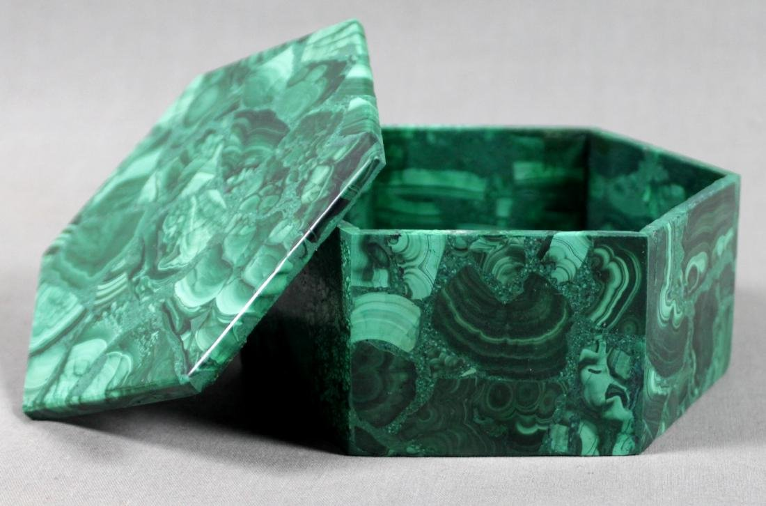 RUSSIAN MALACHITE LIDDED BOX - 2