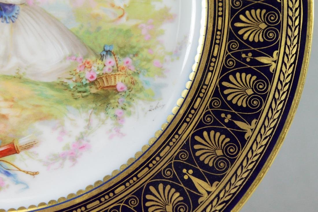 Sevres French Chateau De St. Claud Couple Cobalt Gold - 2