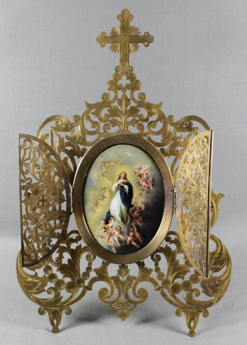 Framed Ecclesiastical Plaque W/ Bronze Frame