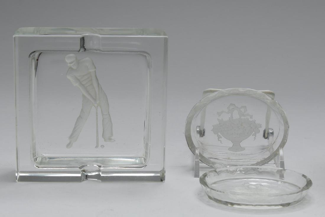 Etched Frosted Crystal & Glass, Group Of 10 Pieces - 3