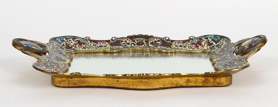 French Champleve Enamel And Bronze Dressing Tray - 7