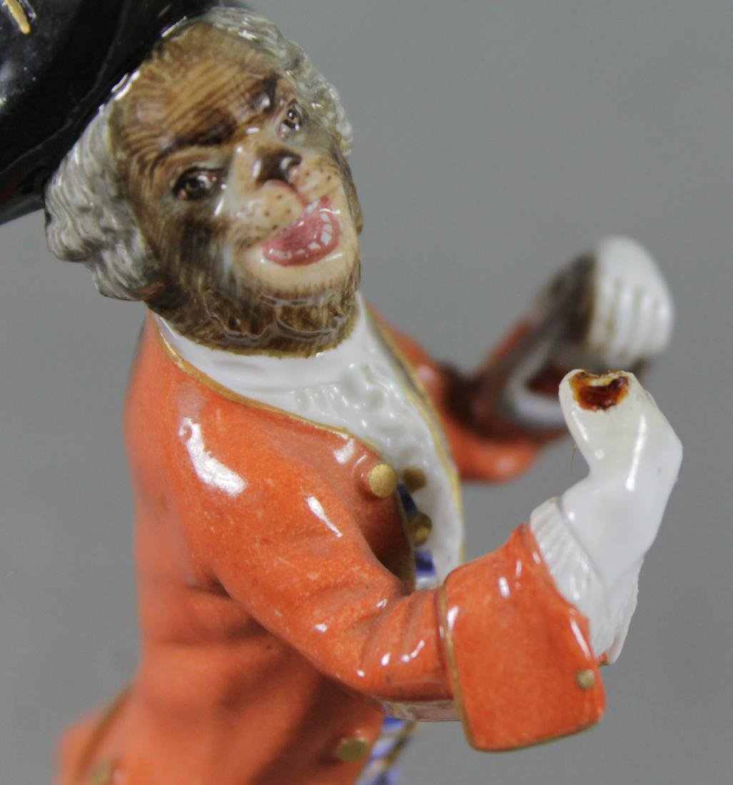 19Th C. Meissen Monkey Band Figure Of Triangle Player - 4