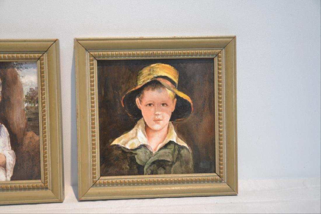 Pair Of Hand Painted German Porcelain Portraits Of Boy - 2