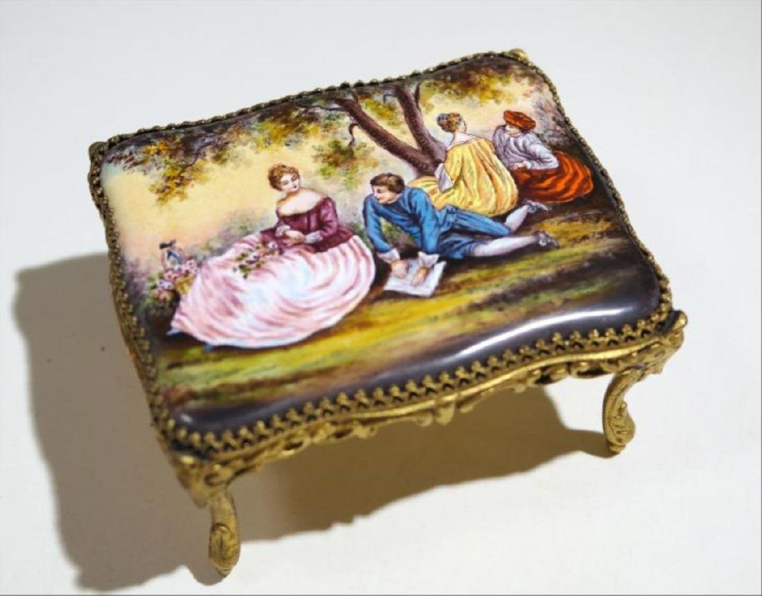 Viennese Enamel Miniature Table Music Box