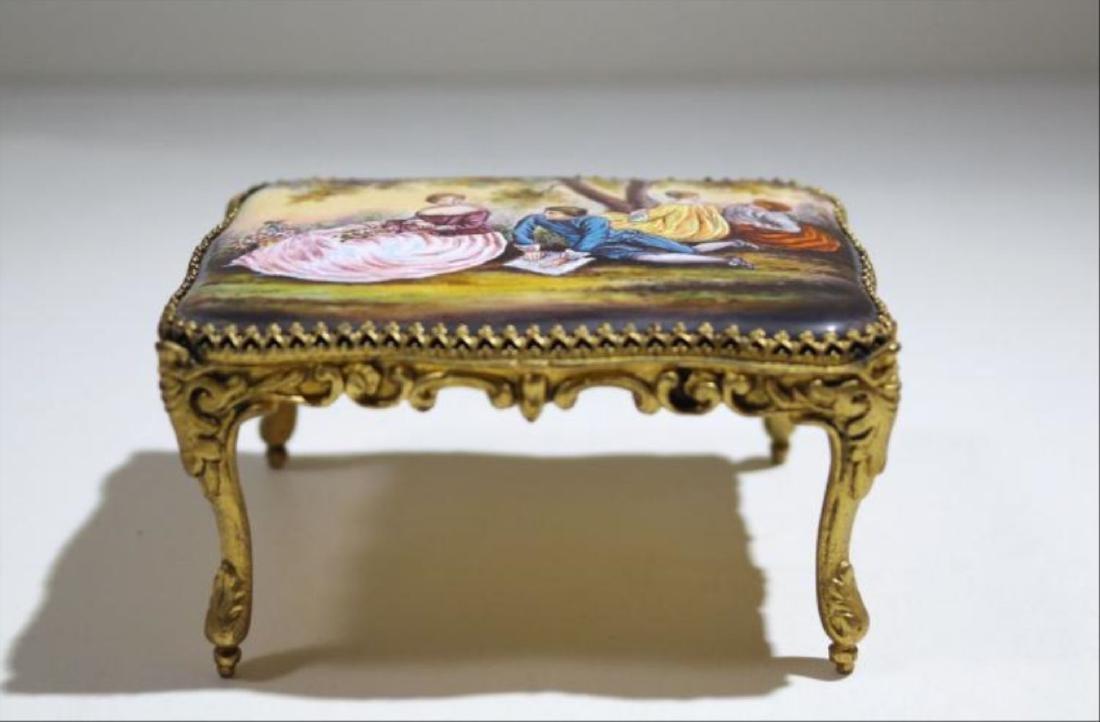 Viennese Enamel Miniature Table Music Box - 3