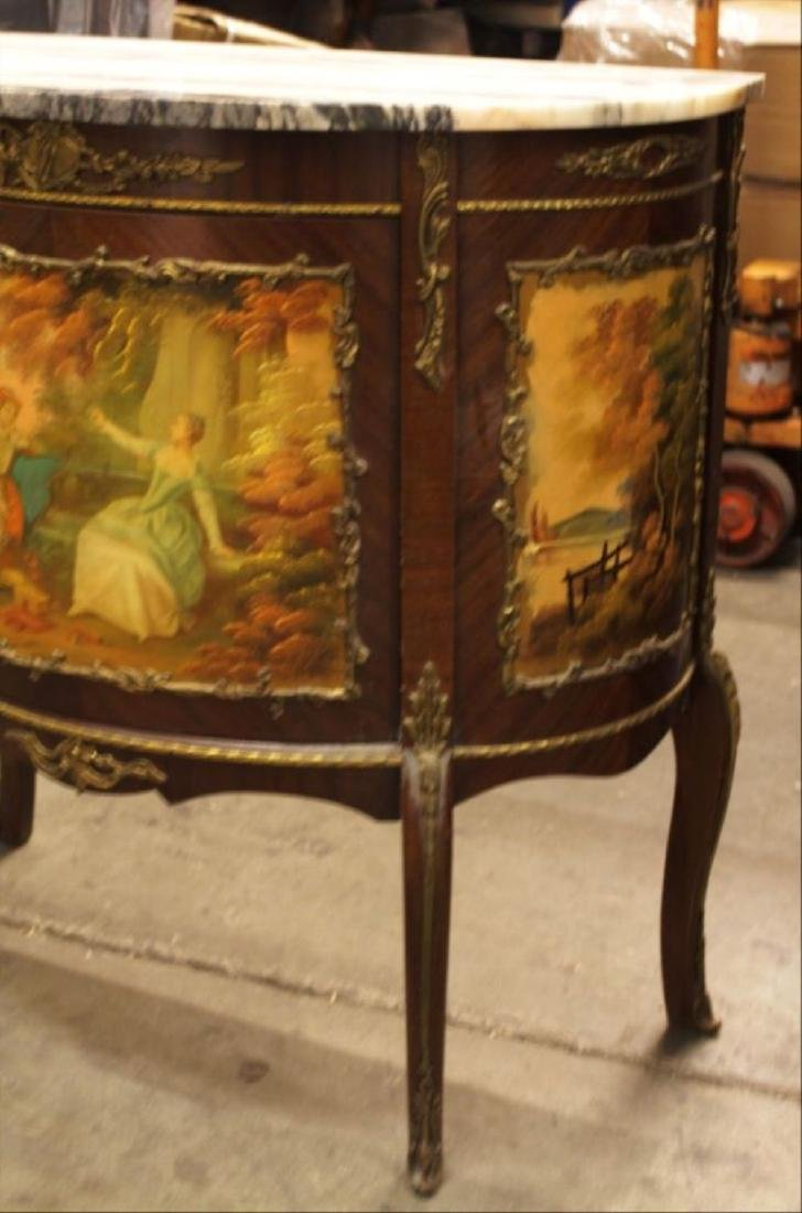 Louis Xv Style Painted And Mahogany Marble Top Commode - 2