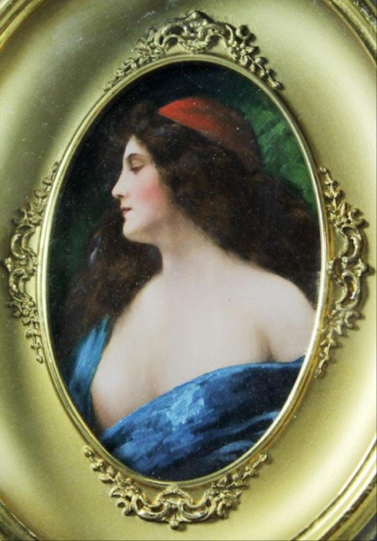 Framed Oval Painting Of A Woman - 2
