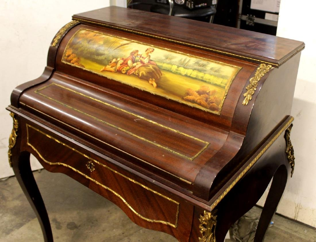 LOUIS XV STYLE PAINTED CYLINDER DESK - 2