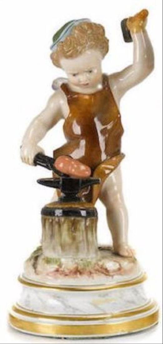 Late 19Th C. Meissen Porcelain Figure Of Putti