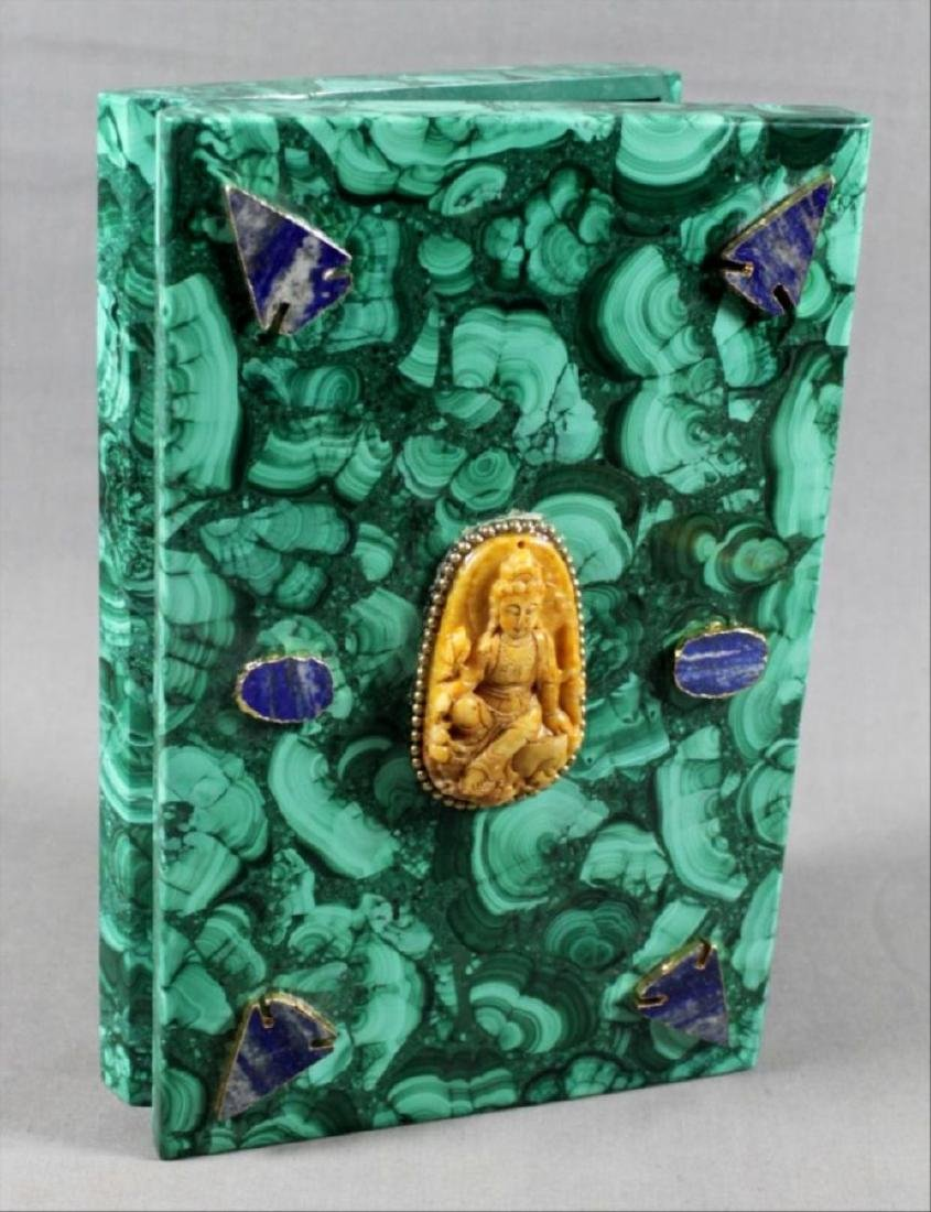Russian Malachite Mounted Book Shaped Box