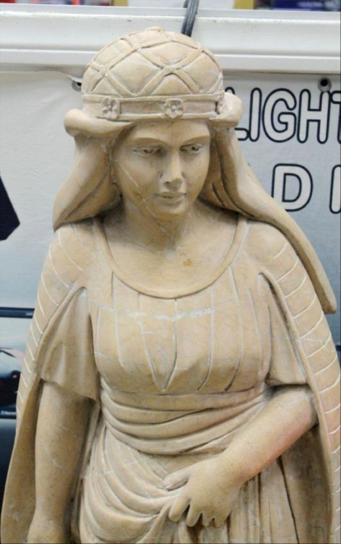 """Large Italian Carved Marble Figure Of Maiden H: 47"""" - 3"""