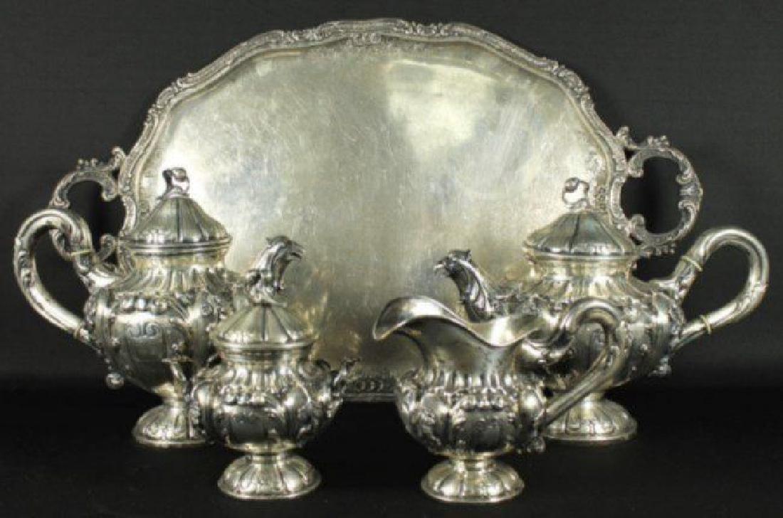 Antique German 800 Silver Tea Set 5 Pc.