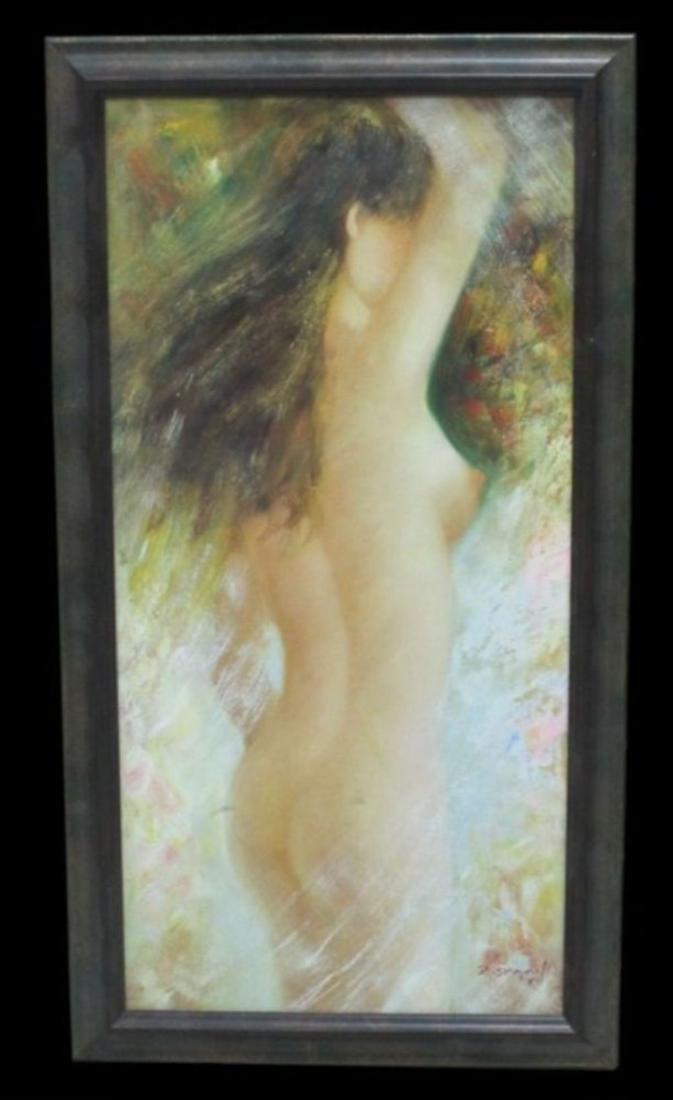 Original Oil Nude, Oil On Canvas Nude Signed Z. Danny